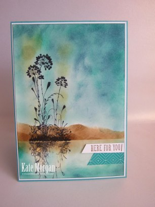 Serene Silhouettes Sponging Reflection Technique #stampinup Sympathy card @cardsbykate
