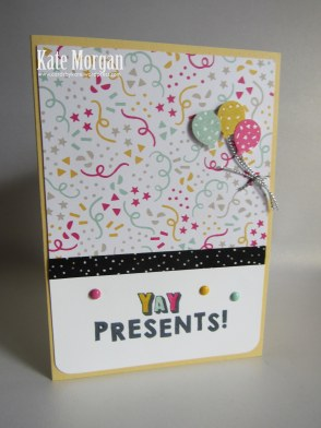 Its My Party DSP, Party Punch Pack, Party Wishes, Feminine Handmade card, Balloons, Stampin Up, Occasions 2016