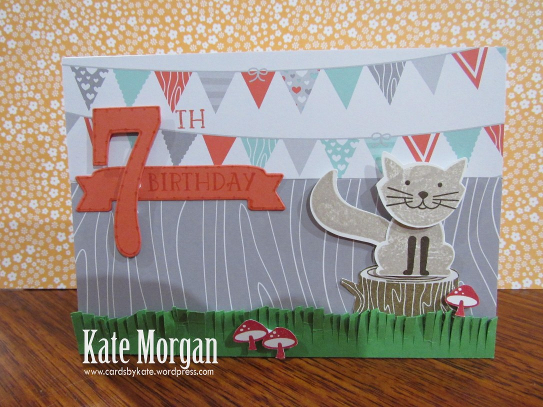 Foxy Friends, Kitty Cat, 7th Birthday, DIY, #stampinup, Handmade