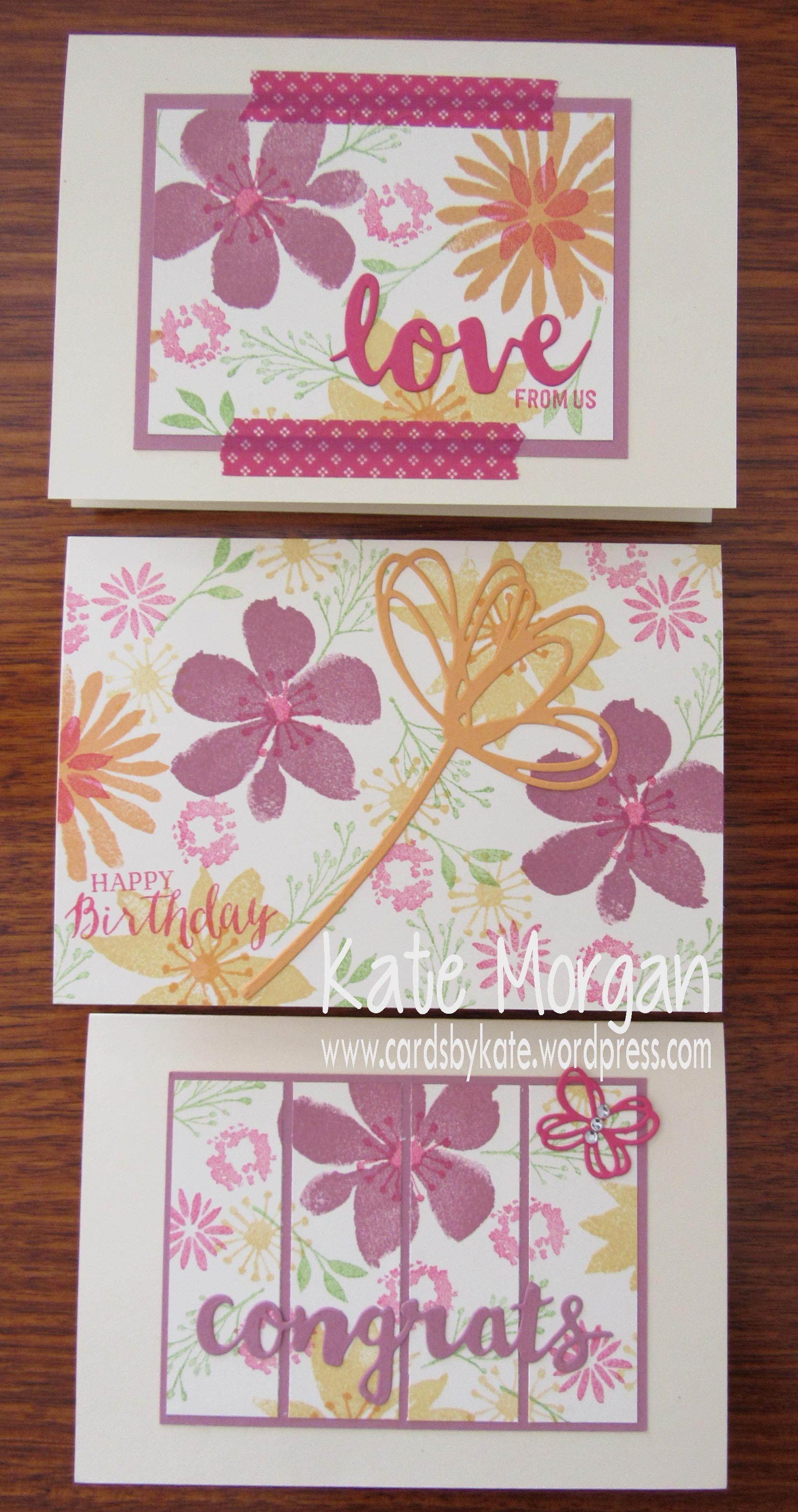 Blooms & Bliss OSW, Sunshine Wishes Pop of Pink, DIY #stampinup @cardsbykate