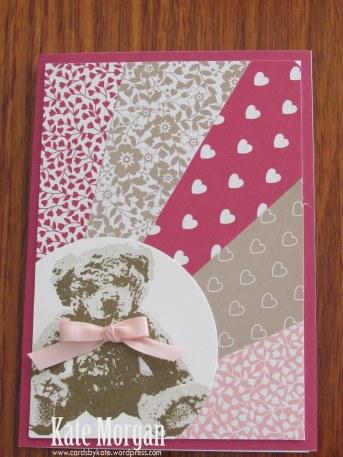 Love Blooms Baby Bear Sunburst Feminine handmade card #stampinup, DIY, @cardsbykate #stampinupaustralia