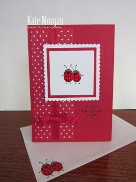 Love You Lots, Ladybugs, Feminine Birthday Card, #stampinup, DIY, @cardsbykate