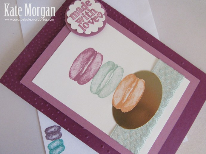 Macaron handmade card Balloon Builders #stampinup, DIY, @cardsbykate