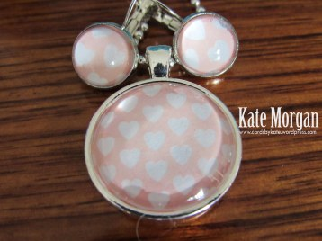 Pink & White heart Designer Costume Jewellery Necklace & Earring set #stampinup @cardsbykate DIY
