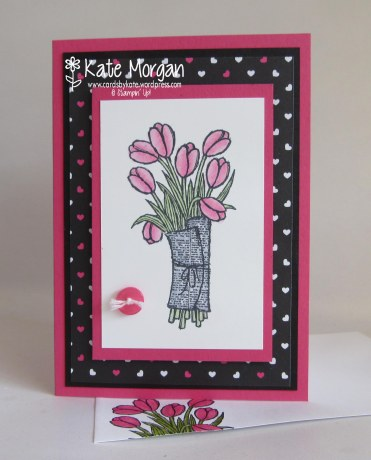 Pop of Pink, Love is Kindness, Tulips Handmade card #stampinup @cardsbykate DIY