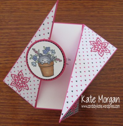 Pretty Kitty Diagonal Side Fold card, Pop of Pink, Flourish Thinlits, DIY #stampinup @cardsbykate