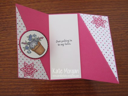 Pretty Kitty Diagonal Side Fold card, Pop of Pink, Flourish Thinlits, #stampinup @cardsbykate DIY