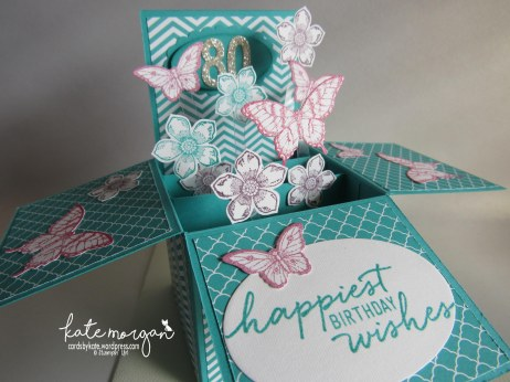 80th Birthday card in a box, Petite Petals, Papillon Potpourri DIY Feminine #stampinup @cardsbykatemorgan