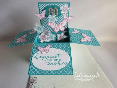 80th Birthday card in a box, Petite Petals, Papillon Potpourri, DIY Feminine #stampinup @cardsbykatemorgan