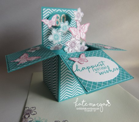 80th Birthday card in a box, Petite Petals, Papillon Potpourri, DIY, Feminine #stampinup @cardsbykatemorgan