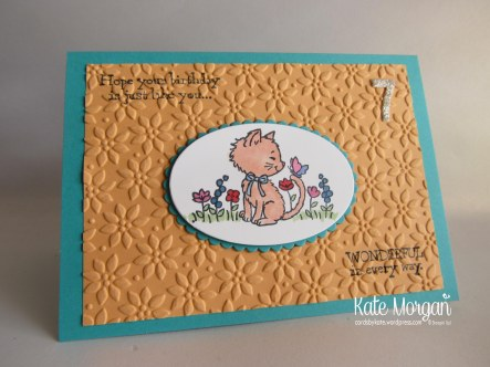 Pretty Kitty & Little Numbers, Handmade Birthday Card 7 Copic, Ovals Framelits  #stampinup DIY @CardsbyKate