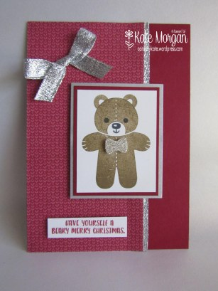 Teddy Bear Cookie Cutter Christmas,  #stampinup Holiday Catalogue 2016 @cardsbykate DIY