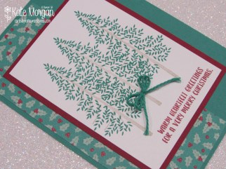 Thoughtful Branches Christmas card, Presents & Pinecones DSP #stampinup DIY, @cardsbykatemorgan