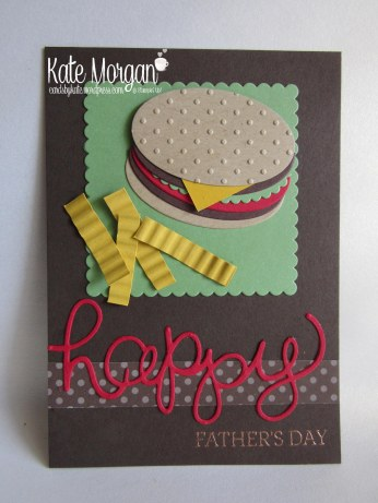 Cards by Kate, Happy Father's Day Burger & Fries Punch Art DIY #stampinup @cardsbykatemorgan