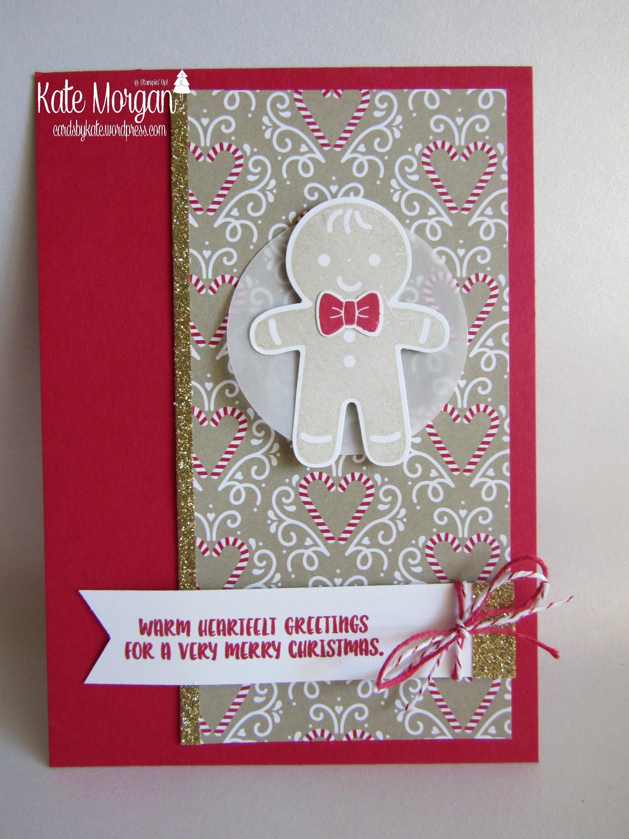 Gingerbread Man Cookie Cutter Bundle Candy Cane Lane Dsp Cards By Kate Handmade Christmas Card Diy Stampinupaustralia Cardsbykatemorgan
