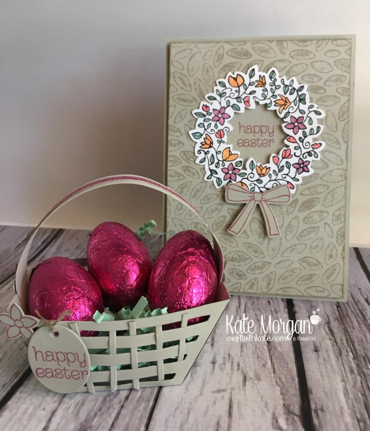 Easter Basket & card using Stampin' Ups Window Box Thinlits & Circle of Spring by Kate Morgan, Independent Demonstrator Australia. Occasions 2017 3D DIY