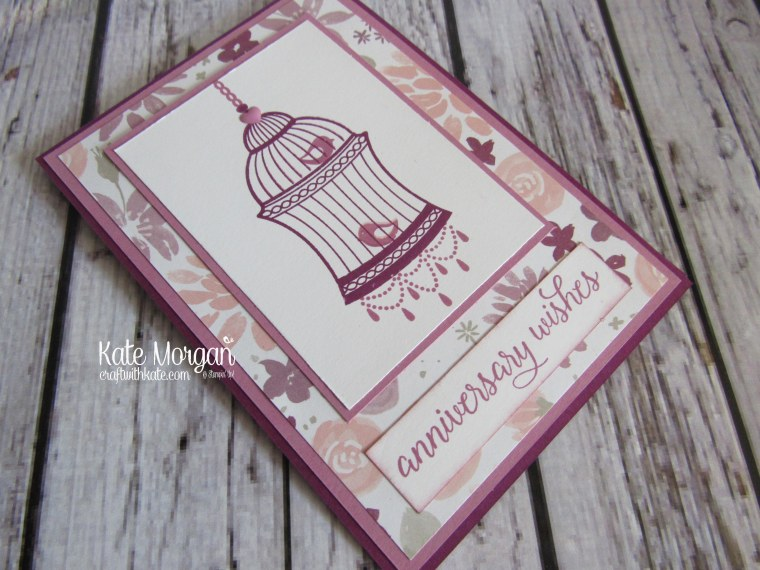 Feminine Anniversary card using Stampin' Ups Builder Bird Cage & Blooms and Bliss DSP by Kate Morgan, Independent Demonstrator Australia. Occasions 2017 DIY side
