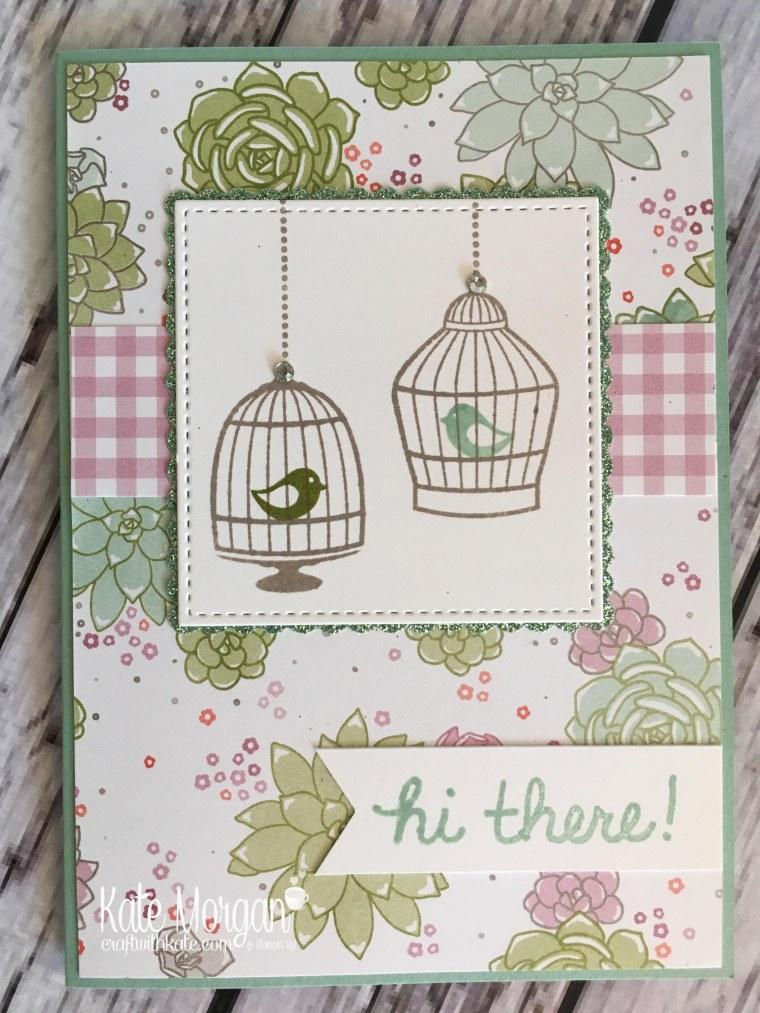 Feminine Bird Cage card using Stampin' Ups Builder Birdcage & Succulent Garden DSP by Kate Morgan, Independent Demonstrator Australia. Occasions 2017 DIY