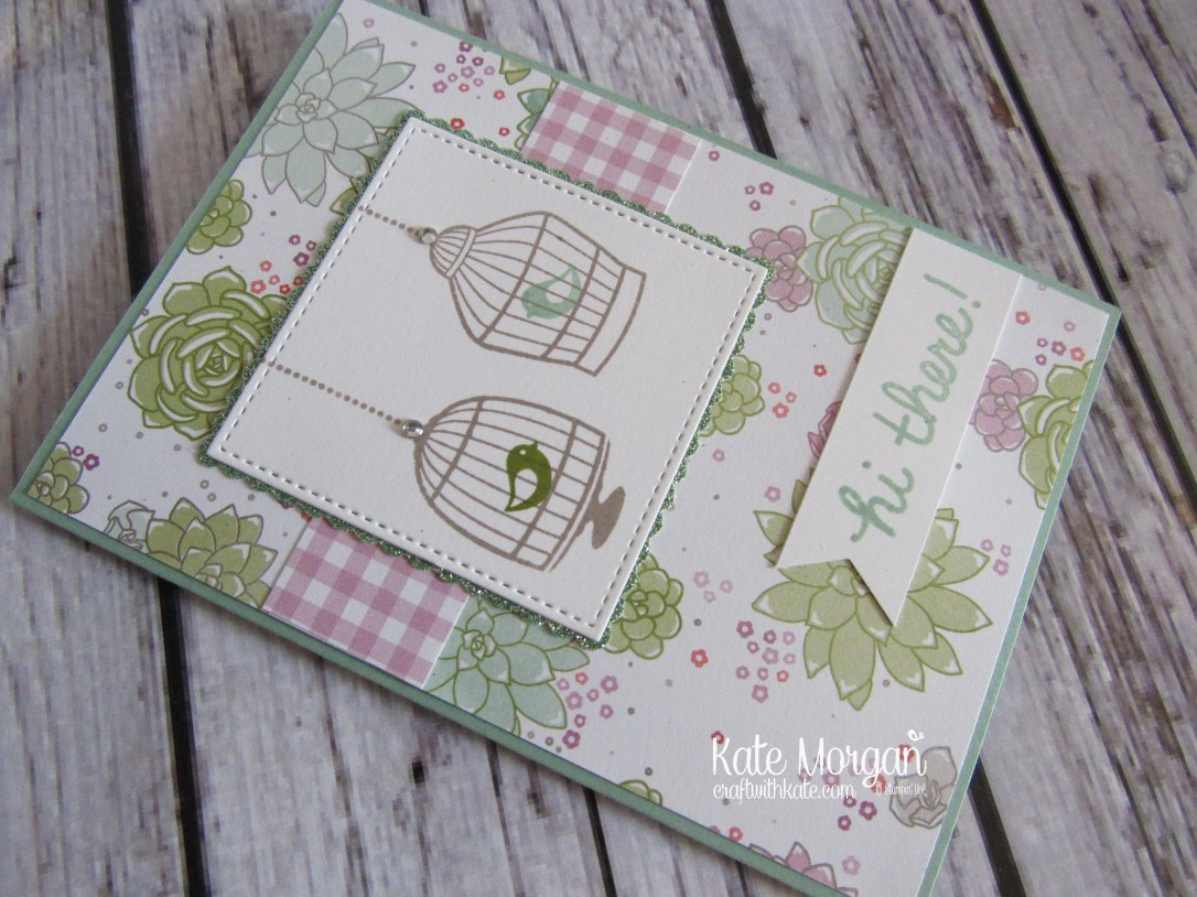 Feminine card using Stampin' Ups Builder Bird Cage & Succulent Garden DSP by Kate Morgan, Independent Demonstrator Australia. Occasions 2017 DIY
