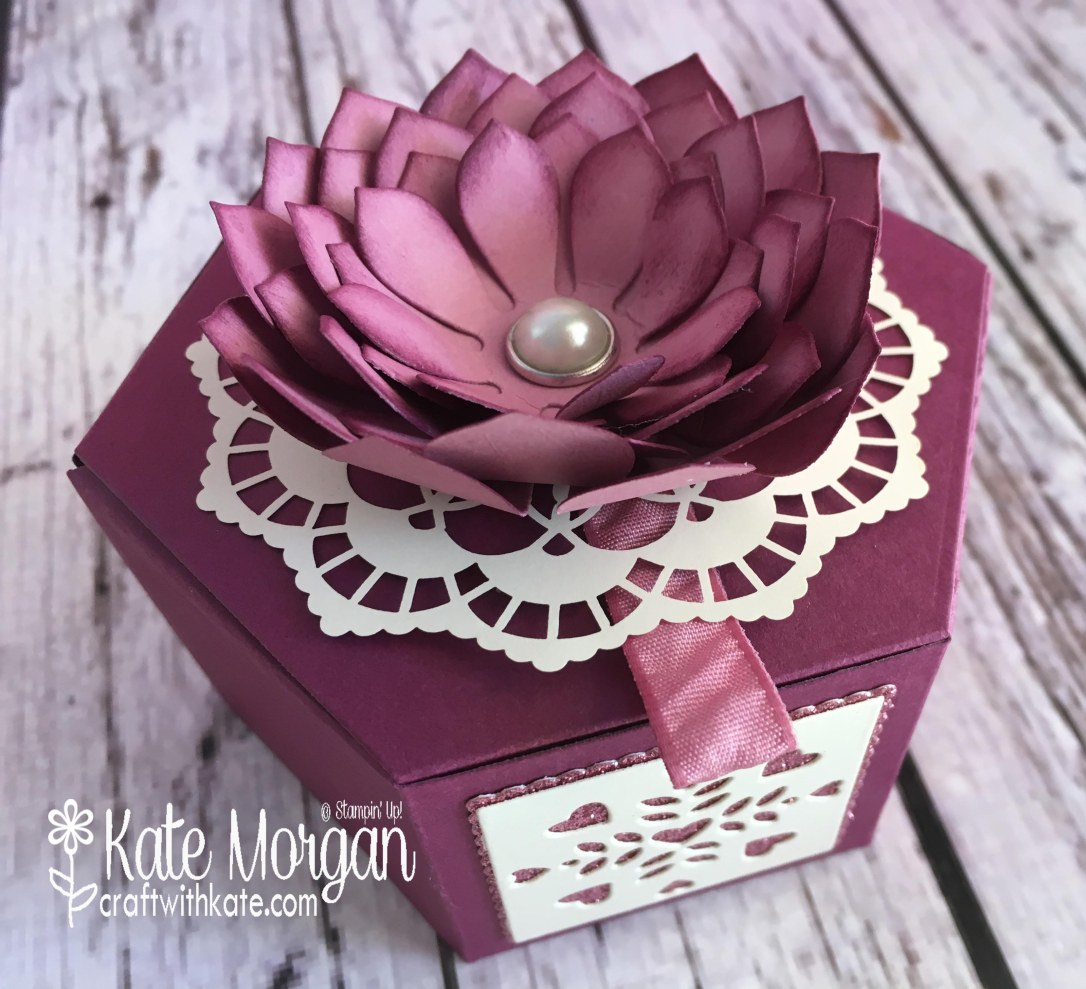 Stunning gift box using Stampin' Ups Succulent Garden, Window Box Thinlits by Kate Morgan, Independent Demonstrator Australia. Occasions 2017 3D DIY Feminine