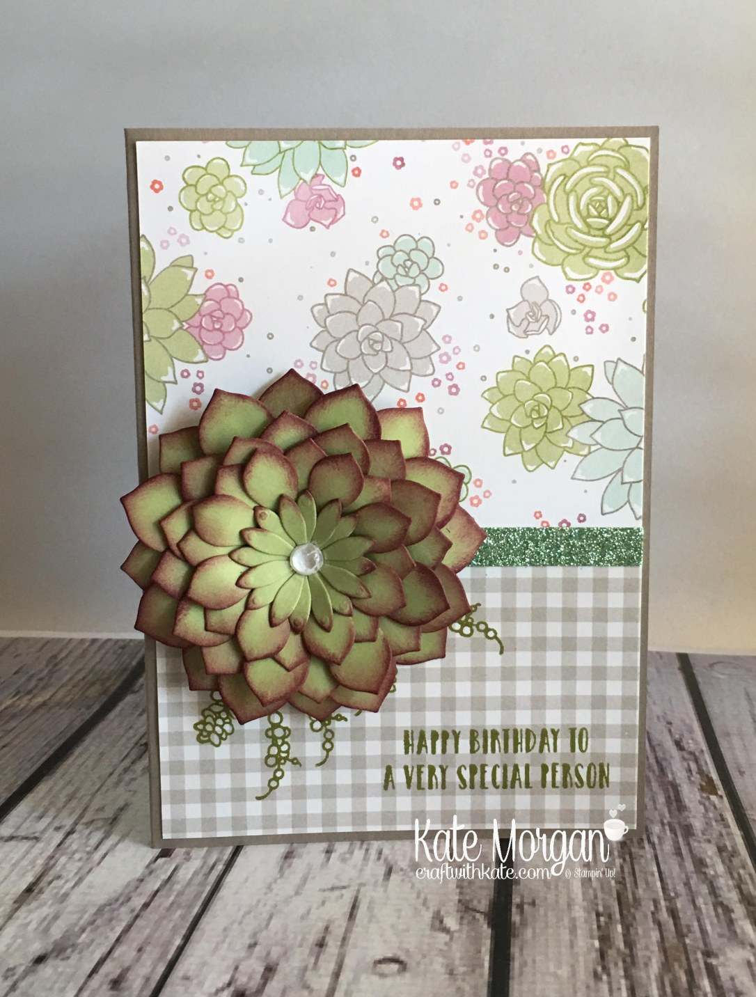 Succulent Garden Suite by Kate Morgan, Independent Stampin' Up! Demonstrator Australia. #occasions2017 DIY 3D Glimmer 2