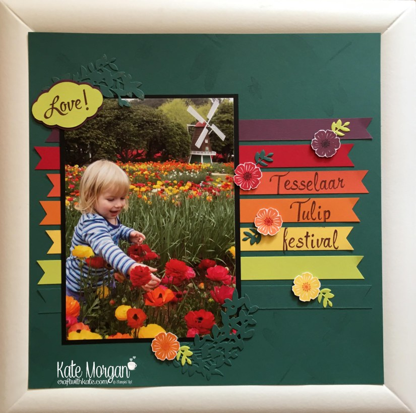 12 x 12 Scrapbook Layout using Beautiful Bouquet stamp set, Pretty Label Punch, Lovely Laurel Thinlits Lovely by Kate Morgan, Independent Stampin Up Demonstrator Australia