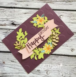 Beautiful Bouquet & Paint Play stamp sets, Lovely Laurel Thinlits, Touches of Nature Elements by Kate Morgan, Independent Stampin Up Demonstrator Australia