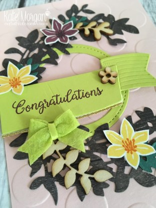 Beautiful Bouquet stamp set, Lovely Laurel Thinlits, Touches of Nature Elements, Stitched Shapes Framelits, Bitty Bows by Kate Morgan, Independent Stampin Up Demonstrator Australia