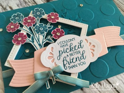 Beautiful Bouquet stamp set, Pretty Label Punch, Lovely Laurel Thinlits with Ombre Ribbon by Kate Morgan, Independent Stampin Up Demonstrator Australia