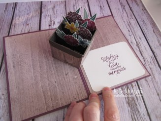 Beautiful Bouquet stamp set, Wood Textures DSP, Pretty Label punch, Lovely Laurel thinlits, Stitched Shapes thinlits inside by Kate Morgan, Independent Stampin Up Demonstrator Australia
