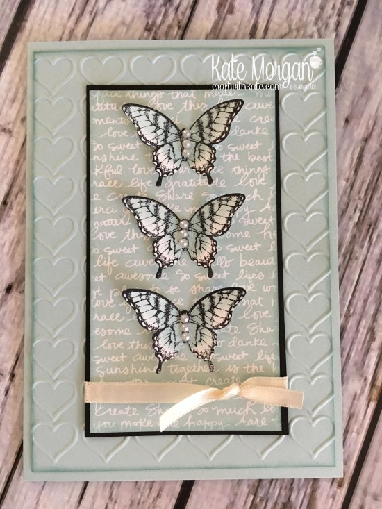 Butterfly Card using Stampin Up Papillon Potpourri, Elegant Butterfly punch, Subtles DSP, Happy Heart TIEF by Kate Morgan, Independent Demonstrator Melbourne. 2017 3D