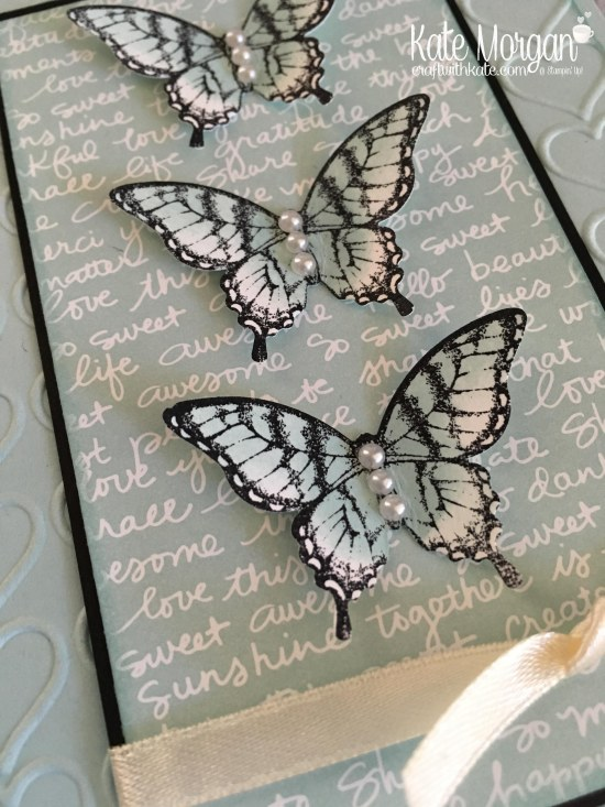 Butterfly Card using Stampin Up Papillon Potpourri, Elegant Butterfly punch, Subtles DSP, Happy Heart TIEF by Kate Morgan, Independent Demonstrator Melbourne. 2017