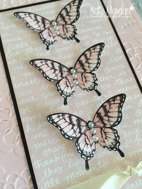 Butterfly Card using Stampin Up Papillon Potpourri, Elegant Butterfly punch, Subtles DSP, Lovey Lace TIEF by Kate Morgan, Independent Demonstrator Melbourne. 2017