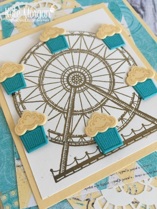 Carousel Birthday Card using Stampin Up Cupcakes & Carousel Birthday DSP, Up & Away thinlits by Kate Morgan, Independent Demonstrator Melbourne. #Occasions2017 3D Embossed