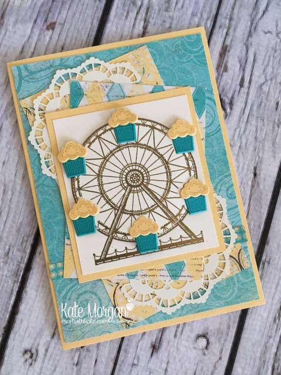 Carousel Birthday Card using Stampin Up Cupcakes & Carousel Birthday DSP, Up & Away thinlits by Kate Morgan, Independent Demonstrator Melbourne. #Occasions2017 3D