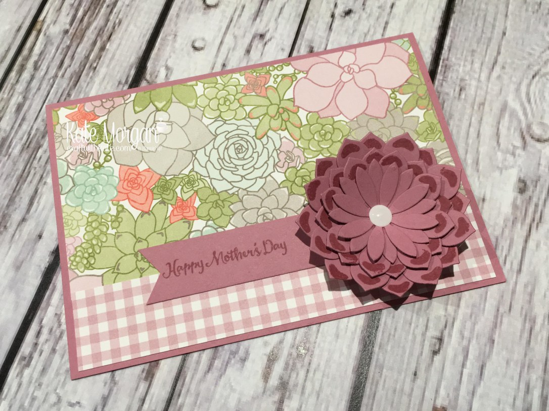 Mother's Day cards using Stampin Ups Oh So Succulent stamp set, Succulent Framelits and Succulent Garden DSP by Kate Morgan, Independent Demonstrator, Australia 3D