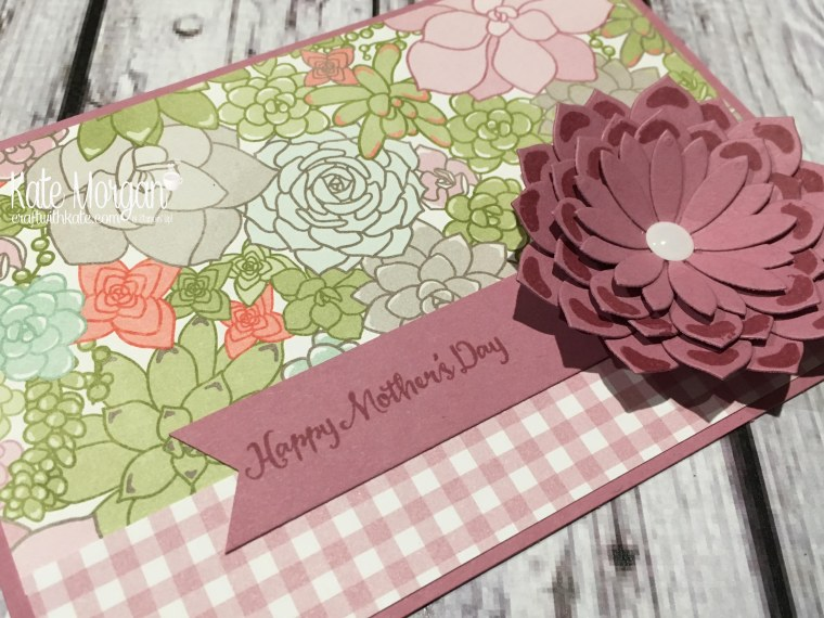 Mother's Day cards using Stampin Ups Oh So Succulent stamp set, Succulent Framelits and Succulent Garden DSP by Kate Morgan, Independent Demonstrator, Australia #stampinup