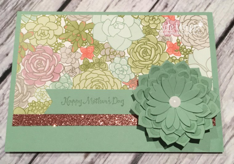Mother's Day cards using Stampin Ups Oh So Succulent stamp set, Succulent Framelits and Succulent Garden DSP by Kate Morgan, Independent Demonstrator, Australia.JPG