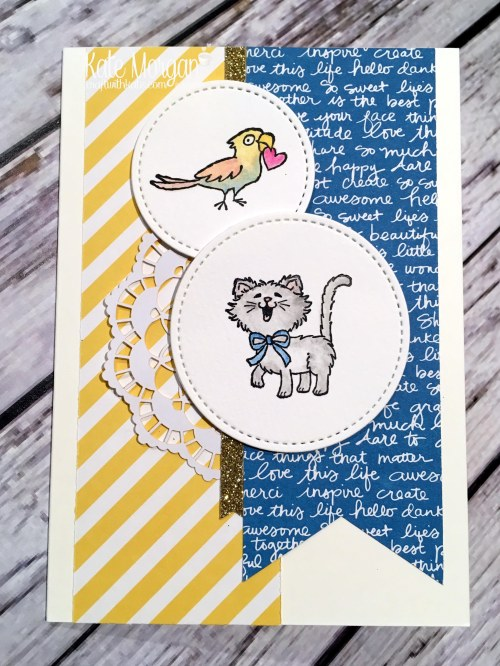 Pretty Kitty & bird by Kate Morgan, Independent Stampin Up demonstrator, Australia