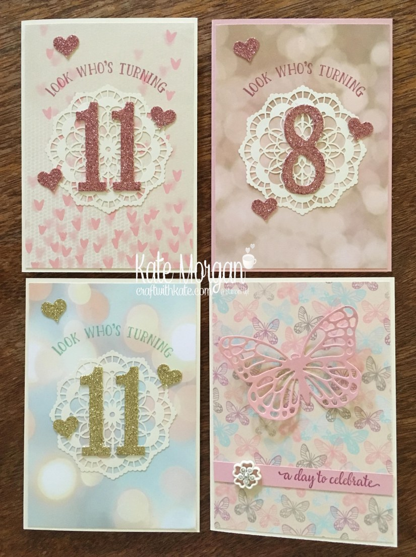 Birthday Cards using Stampin Ups Falling in Love DSP, Large Number Framelits & Number of Years Stamp set by Kate Morgan, Independent Demonstrator, Rowville #cutitnothhoardit.JPG