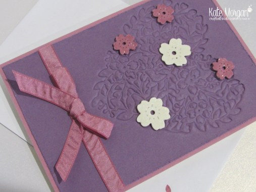 Faux Embossing with Bloomin Heart Thinlits by Kate Morgan, Independent Demonstrator, #stampinup DIY