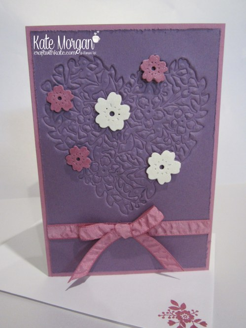 Faux Embossing with Bloomin Heart Thinlits by Kate Morgan, Independent Demonstrator #stampinup