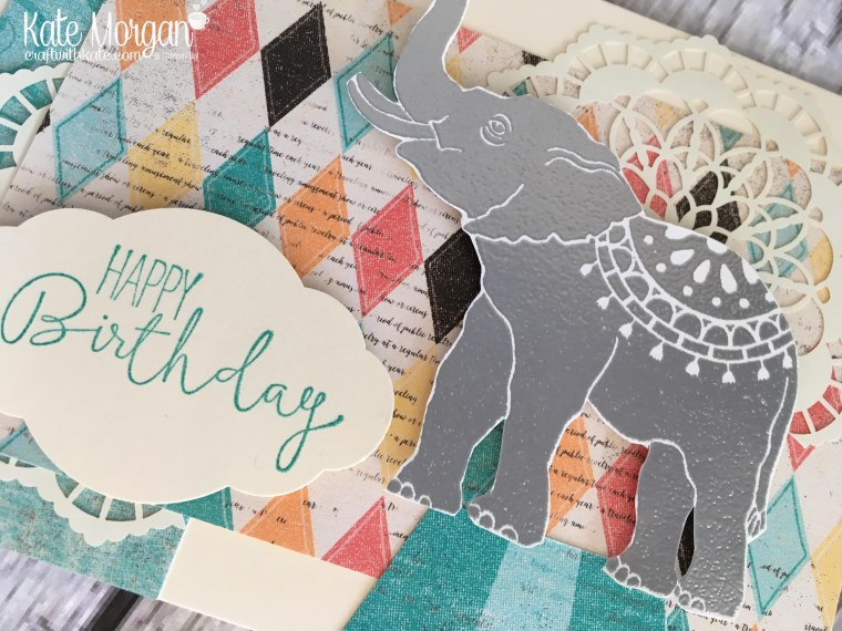 Happy Birthday card using Stampin Ups Lucky Elephant, Cupcakes & Carousels DSP & Special Cenlebrations stamp set by Kate Morgan, Independent Demonstrator, Rowville.JPG