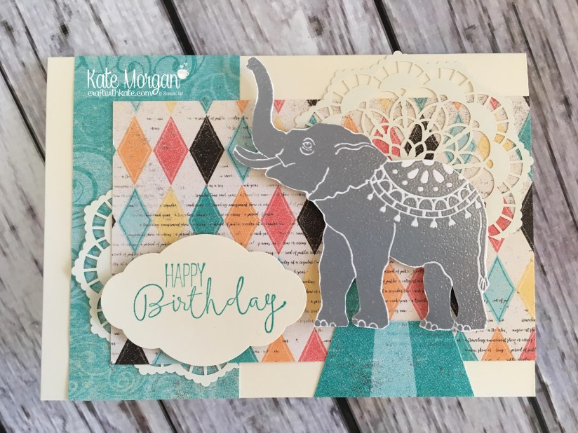 Happy Birthday card using Stampin Ups Lucky Elephant stamp, Cupcakes & Carousels DSP & Special Cenlebrations stamp set by Kate Morgan, Independent Demonstrator, Rowville.JPG