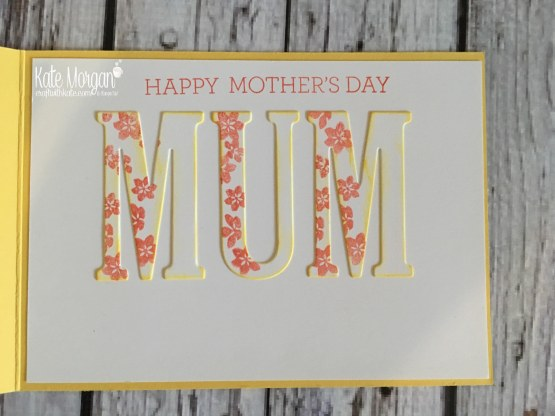Shaker card for Mother's Day using Stampin Ups Delightful Daisy DSP & Large Letter Framelits by Kate Morgan, Independent SU Demonstrator, Rowville inside