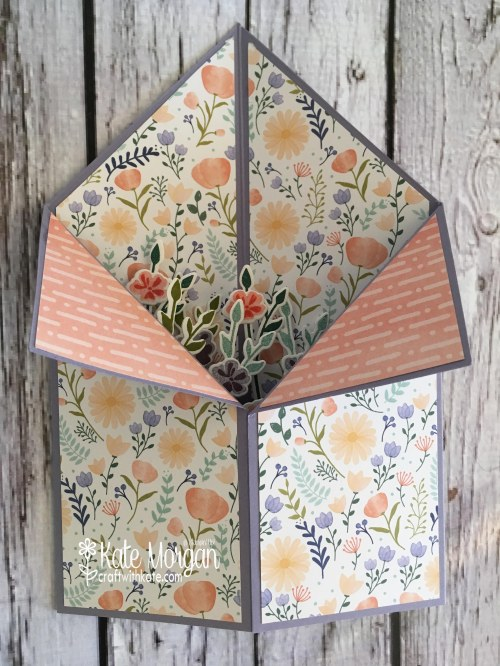 Tuxedo Fold card using Stampin Ups Delightful Daisy DSP & Jar of Love Bundle by Kate Morgan, Independent SU Demonstrator, Rowville flat