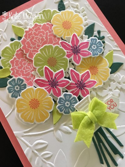 Beautiful 3D Posy card using Beautiful Bouquet Bundle by Kate Morgan, Independent Stampin' Up! Demostrator, Australia angle