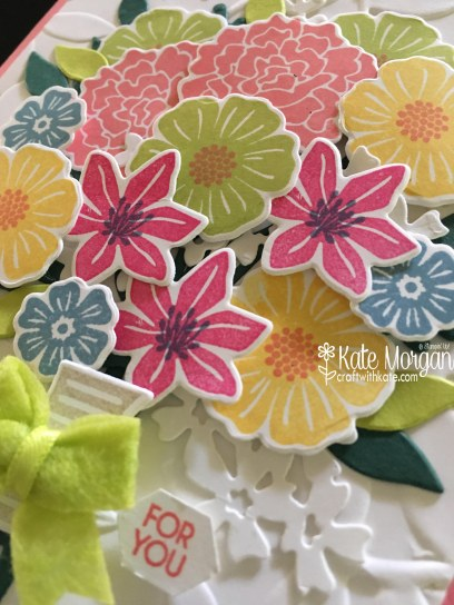 Beautiful 3D Posy card using Beautiful Bouquet Bundle by Kate Morgan, Independent Stampin' Up! Demostrator, Australia feature