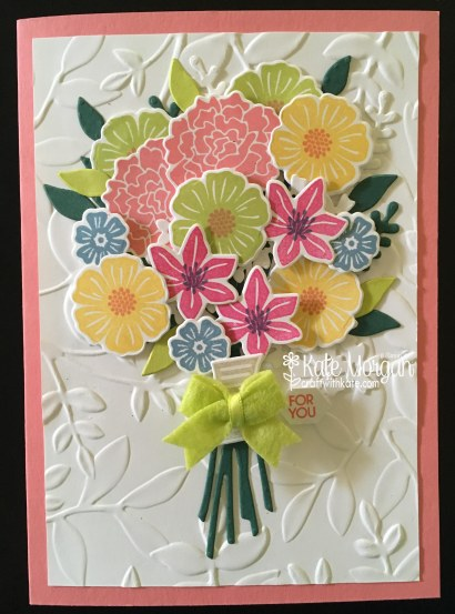 Beautiful 3D Posy card using Beautiful Bouquet Bundle by Kate Morgan, Independent Stampin' Up! Demostrator, Australia