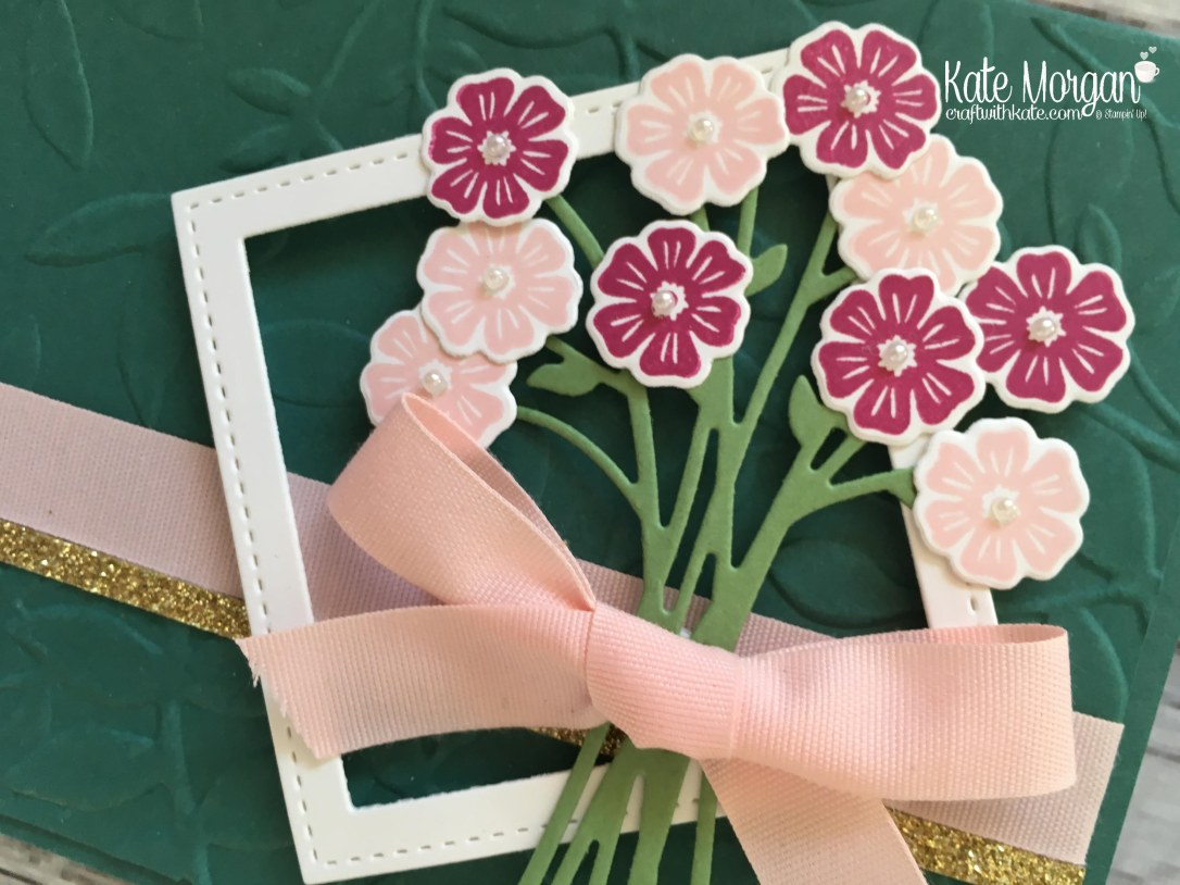 Beautiful Feminine card using Beautiful Bouquet Bundle by Kate Morgan, Independent Stampin' Up! Demostrator, Australia closeup